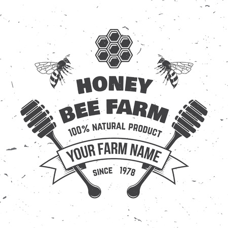 Honey farm badge. Vector. Concept for shirt, print, stamp or tee. Vintage typography design with bee, honeycomb piece and honey dipper silhouette. Retro design for honey bee farm business
