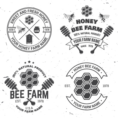 Set of Honey bee farm badge. Vector. Concept for shirt, stamp or tee. Vintage typography design with bee, honeycomb piece, hive and honey dipper silhouette. Design for honey bee farm business