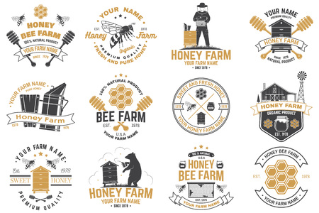 Set of Honey bee farm badge. Vector. Concept for print, stamp or tee. Vintage typography design with bee, honeycomb piece, hive and honey dipper silhouette. Design for honey bee farm business
