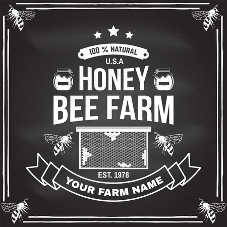 Honey farm badge. Vector. Concept for shirt, print, stamp or tee. Vintage typography design with bee, honeycomb piece and silhouette. Retro design for honey bee farm business Ilustração