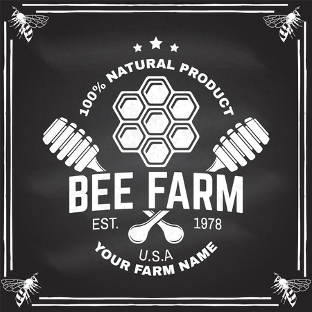 Honey farm badge. Vector on the chalkboard. Concept for print, stamp or tee. Vintage typography design with honeycomb piece and honey dipper silhouette. Retro design for honey bee farm business