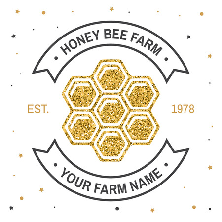 Honey farm badge. Vector. Concept for shirt, print, stamp or tee. Vintage typography design with honey silhouette. Retro design for honey bee farm business