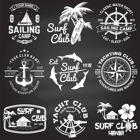 Set of sailing camp, yacht club and surf club badges. Vector. Concept for shirt, print, stamp. Vintage typography design with surfboard and sailing boat silhouette. Extreme water sport. Illusztráció