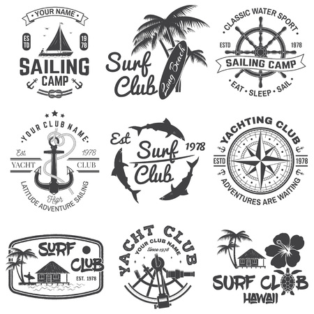 Set of sailing camp, yacht club and surf club badges. Vector. Concept for shirt, print, stamp. Vintage typography design with surfboard and sailing boat silhouette. Extreme water sport. Ilustração