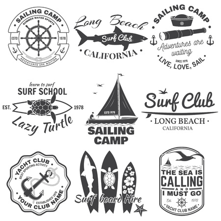 Set of sailing camp, yacht club and surf club badges. Vector. Concept for shirt, print, stamp. Vintage typography design with surfboard and sailing boat silhouette. Extreme water sport.  イラスト・ベクター素材