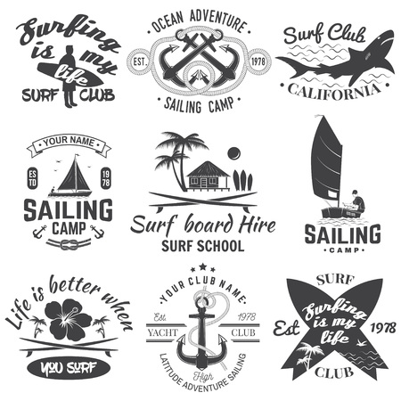 Set of sailing camp, yacht club and surf club badges. Vector. Concept for shirt, print, stamp. Vintage typography design with surfboard and sailing boat silhouette. Extreme water sport. Illustration