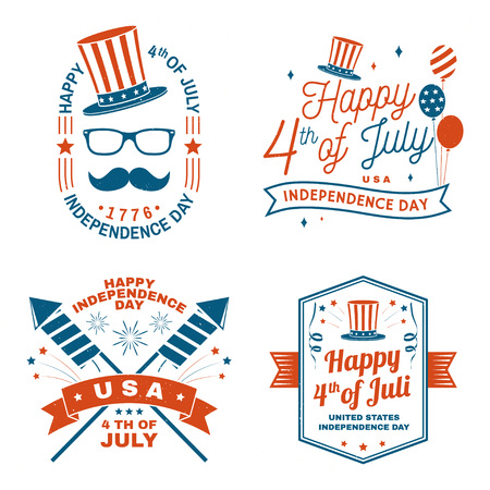 Set of Vintage 4th of july design. Fourth of July felicitation classic postcard. Independence day greeting card. Patriotic banner for website template. Vector illustration. Иллюстрация