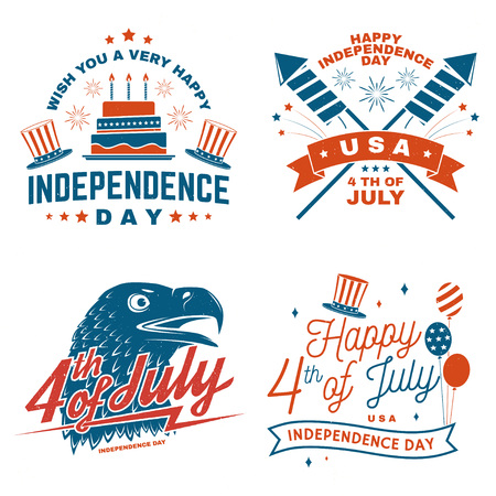 Set of Vintage 4th of july design in retro style. Independence day greeting card. Patriotic banner for website template. Vector illustration.
