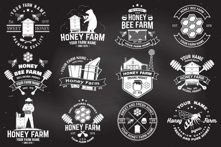Set of Honey bee farm badge. Vector. Concept for print, stamp or tee. Vintage typography design with bee, honeycomb piece, hive and honey dipper silhouette. Design for honey bee farm business Stok Fotoğraf - 124620016