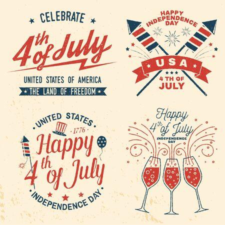 Set di design vintage del 4 luglio. Cartolina classica di felicitazione del quattro luglio. Biglietto di auguri per il giorno dell'indipendenza. Banner patriottico per modello di sito web. Illustrazione vettoriale.