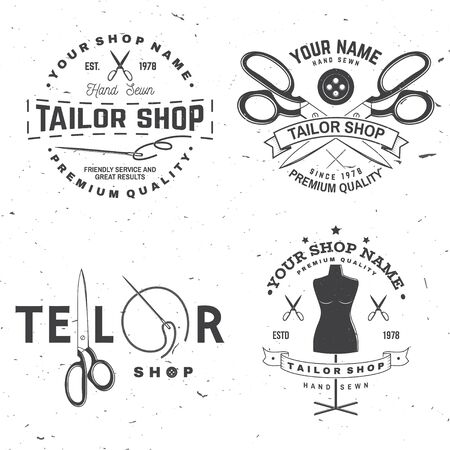 Tailor shop badge. Vector. Concept for shirt, print, stamp label or tee. Vintage typography design with sewing needle and scissors silhouette. Retro design for sewing shop business