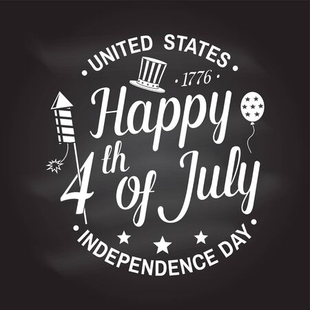 Vintage 4th of july design in retro style. Independence day greeting card. Patriotic banner for website template. Vector illustration.