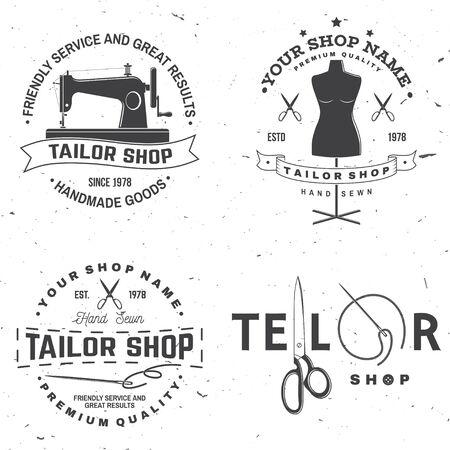 Schneiderei Abzeichen. Vektor. Konzept für Hemd, Druck, Stempeletikett oder T-Stück. Vintage-Typografie-Design mit Nähnadel und Schere Silhouette. Retro-Design für das Nähgeschäft Vektorgrafik