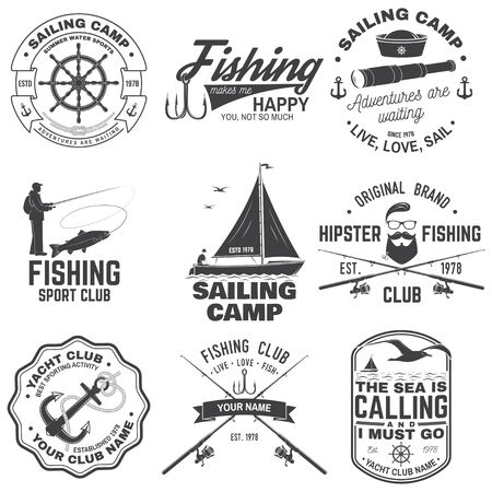 Set of sailing camp and fishing club badges. Vector. Concept for shirt, print, stamp or tee. Vintage typography design with fish rod and sailing boat silhouette. Extreme water sport. Ilustração Vetorial