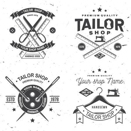 Schneiderei Abzeichen. Vektor. Konzept für Shirt, Print, Stempeletikett oder T-Shirt. Vintage-Typografie-Design mit Nähnadel und Schere Silhouette. Retro-Design für das Nähgeschäft