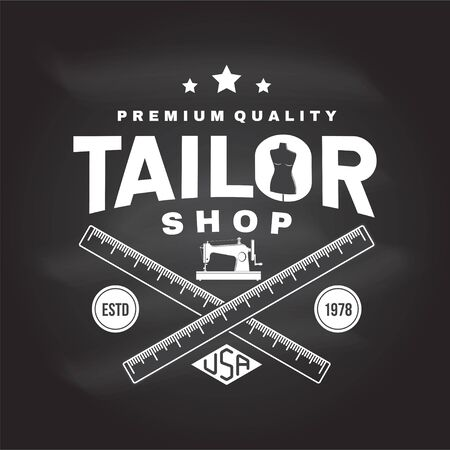 Tailor shop badge. Vector. Concept for shirt, print, stamp label or tee. Vintage typography design with sewing machine, measure meter silhouette. Retro design for sewing shop business Иллюстрация