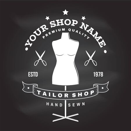 Tailor shop badge. Vector. Concept for shirt, print, stamp label or tee. Vintage typography design with mannequin and scissors silhouette. Retro design for sewing shop business