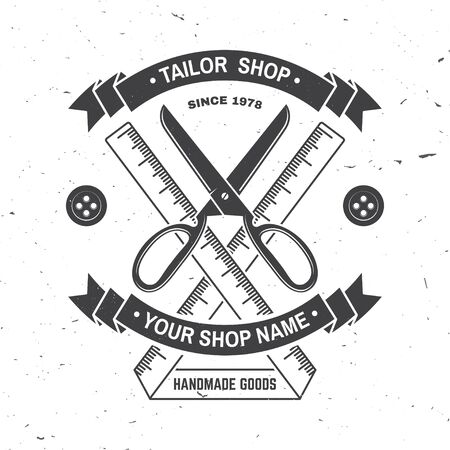 Tailor shop badge. Vector. Concept for shirt, print, stamp label or tee. Vintage typography design with measure meter and scissors silhouette. Retro design for sewing shop business