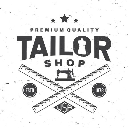 Tailor shop badge. Vector. Concept for shirt, print, stamp label or tee. Vintage typography design with sewing machine, measure meter silhouette. Retro design for sewing shop business Illustration