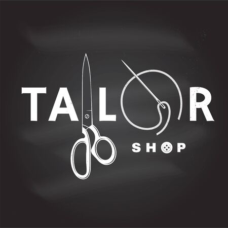Tailor shop badge. Vector. Concept for shirt, print, stamp label or tee. Vintage typography design with sewing needle and scissors silhouette. Retro design for sewing shop business Vektorgrafik