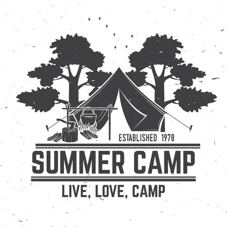 Summer camp. Vector. Concept for shirt or  print, stamp or tee. Vintage typography design with camper tent, pot on the fire, axe, sky and forest silhouette.