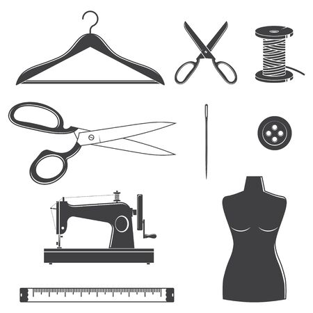 Set of sewing dressmaking and tailoring equipment silhouette icons. Vector. Set include sewing needle, mannequin, button, hanger and scissors. Equipment icons for for sewing shop business