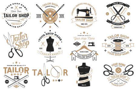 Insigne de magasin de tailleur. Vecteur. Concept pour chemise, impression, étiquette de timbre ou tee-shirt. Conception de typographie vintage avec aiguille à coudre et silhouette de ciseaux. Design rétro pour l'entreprise de couture