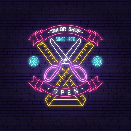 Tailor shop neon design or emblem. Vector. Night neon signboard. Vintage typography design with measure meter and scissors silhouette. Retro design for sewing shop business
