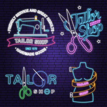 Tailor shop neon design or emblem. Vector. Night neon signboard. Vintage typography design with sewing needle and spool of thread silhouette. Retro design for sewing shop business