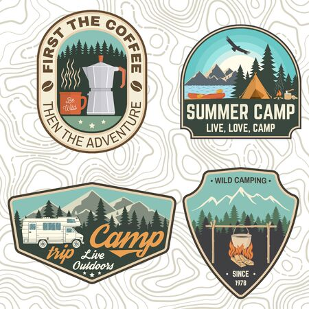 Set of Camping and caravanning club badges. Concept for shirt or logo, print, stamp, patch or tee. Vintage typography design with camp trailer, coffee maker, forest and mountain silhouette.