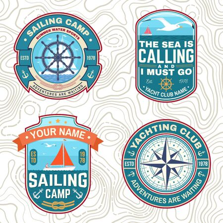 Set of summer sailing camp patches. Vector. Concept for shirt, stamp or tee. Vintage typography design with sea anchors, hand wheel, sail boat and rope knot silhouette. Ocean adventure. Illusztráció