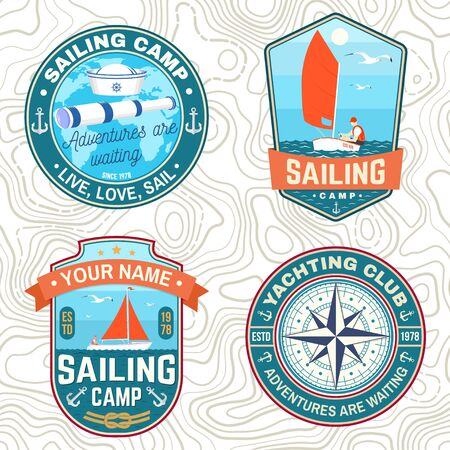 Set of summer sailing camp patches. Vector. Concept for shirt, stamp or tee. Vintage typography design with sea anchors, hand wheel, sail boat and rope knot silhouette. Ocean adventure. Иллюстрация