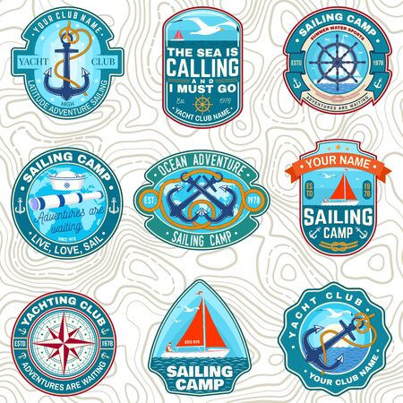 Set of summer sailing camp patches. Vector. Concept for shirt, stamp or tee. Vintage typography design with sea anchors, hand wheel, sail boat and rope knot silhouette. Ocean adventure. Illustration