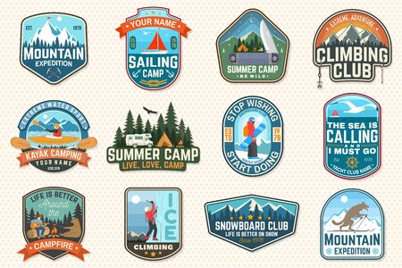 Set of sailing camp, canoe and kayak club patches. Vector. Concept for shirt, print, stamp or tee. Outdoor adventure patches.
