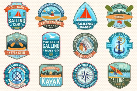 Set of sailing camp, canoe and kayak club patches. Vector. Concept for shirt, print, stamp. Design with sea anchors, hand wheel, sail boat and river, kayaker silhouette. Extreme water sport. Çizim