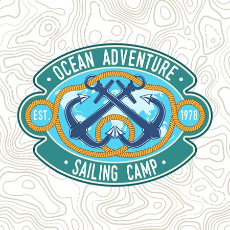 Sailing camp badge. Vector. Concept for shirt, print, stamp or tee. Vintage typography design with black sea anchors and rope knot silhouette. Best Sporting Activity