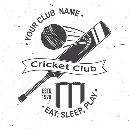 Cricket club badge. Vector. Concept for shirt, print, stamp or tee. Vintage typography design with bat , wicket, bail and cricket ball silhouette. Templates for sports club.