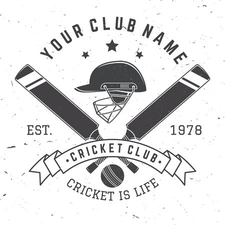 Insigne de club de cricket. Vecteur. Concept pour chemise, impression, timbre ou tee. Conception de typographie vintage avec batte de cricket, casque et silhouette de balle. Modèles pour club de sport.