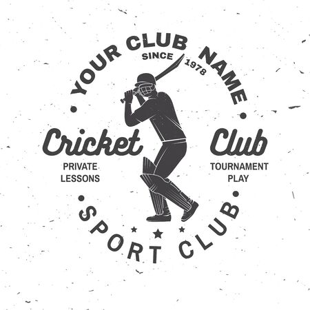 Cricket club badge. Vector. Concept for shirt, print, stamp or tee. Vintage typography design with cricket batsman silhouette. Templates for sports club. Ilustração