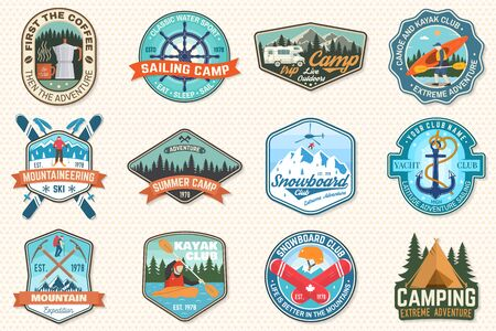 Set of sailing camp, canoe, snowboarding, climbing and kayak club patches. Vector. Concept for shirt, print, stamp or tee. Outdoor adventure patches. Çizim