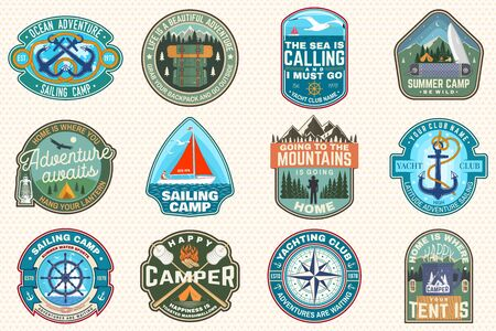 Set of sailing camp and summer camp patches. Vector. Concept for shirt, print, stamp or tee. Design with sea anchors, hand wheel, sailboat , camping tent and campfire silhouette. Иллюстрация