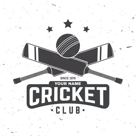 Cricket club badge. Vector. Concept for shirt, print, stamp or tee. Vintage typography design with cricket bat and ball silhouette.