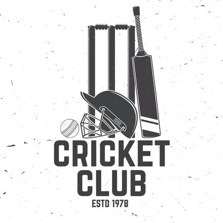 Cricket club badge. Vector. Concept for shirt, print, stamp or tee. Vintage typography design with wicket, bail, helmet and cricket ball silhouette. Templates for sports club. Ilustração