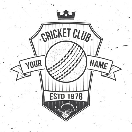 Cricket club badge. Vector. Concept for shirt, print, stamp or tee. Vintage typography design with cricket bat and helmet silhouette. Templates for sports club.