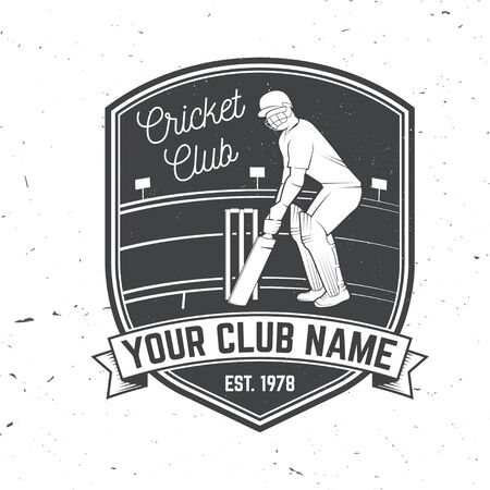 Cricket club badge. Vector. Concept for shirt, print, stamp or tee. Vintage typography design with cricket batsman silhouette. Templates for sports club. Illustration