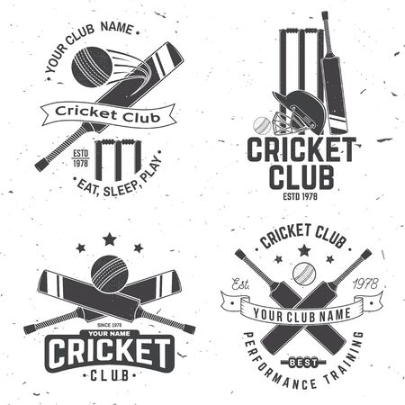 Set of cricket club badges. Vector. Concept for shirt, stamp or tee. Vintage typography design with cricket ball, wicket, bail and helmet silhouette. Templates for sports club.