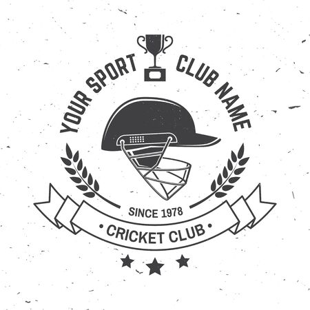 Cricket club badge. Vector. Concept for shirt, print, stamp or tee. Templates for sports club.