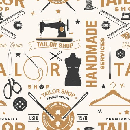Tailor shop seamless pattern or background. Vector. Concept for sewing shop business. Design with sewing accessories silhouette.