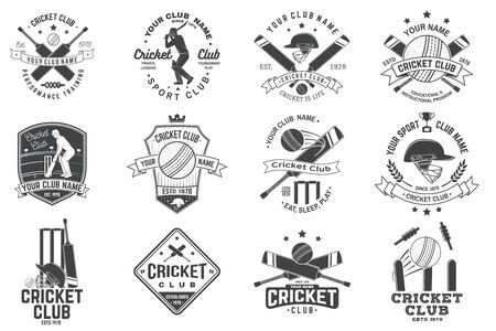 Set of cricket club badges. Vector. Concept for shirt, print, stamp or tee. Templates for cricket sports club.