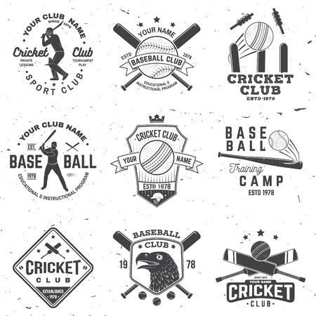 Set of cricket and baseball club badges. Vector. Concept for shirt, print, stamp or tee. Templates for sports club.